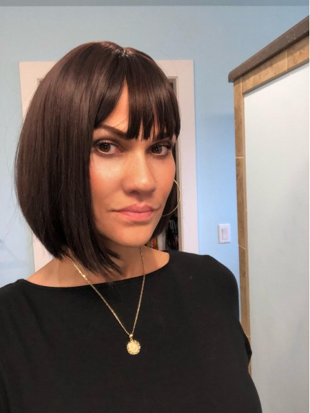 Short Straight Bob Style Capless Remy Human Hair Wigs With Bangs