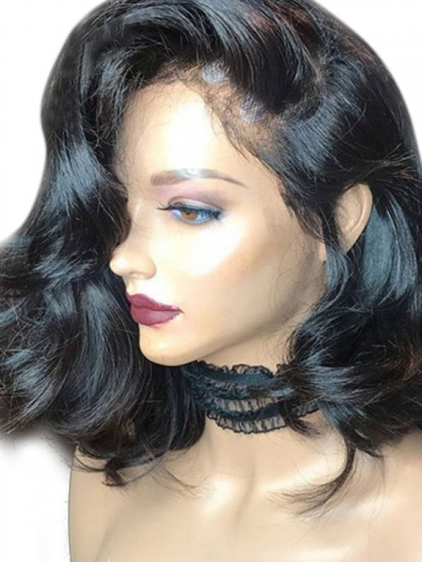 Mid-length Wavy 360 Lace 100% Indian Remy Human Hair Wig