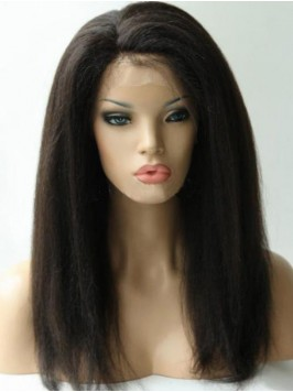 Long Kinky Straight 360 Lace Frontal Wig 14 Inches