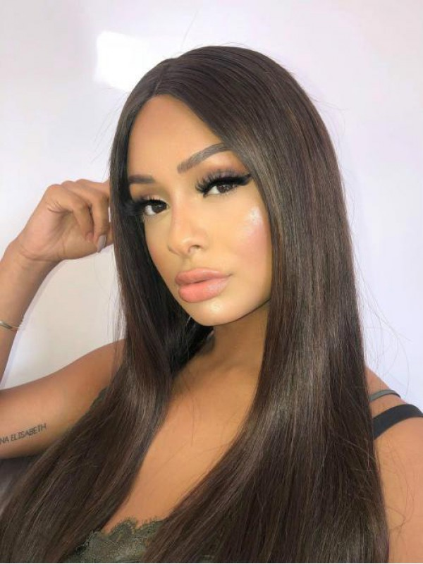 Straight 360 Lace Frontal Wig With Highlight 20 Inches