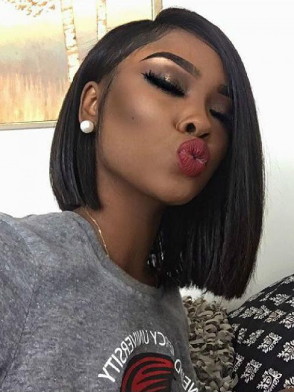 Black Short Cut 360 Lace Straight Remy Human Hair Wig