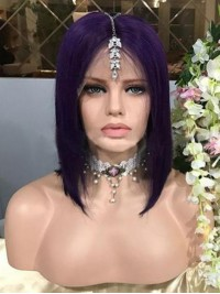 Purple Long Straight 360 Lace Remy Human Hair Wig