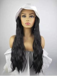 Black Long Curly Synthetic Wigs 26 Inches With White Fishman Hat
