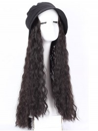 Black Long Curly Synthetic Wigs 28 Inches With Black Hats