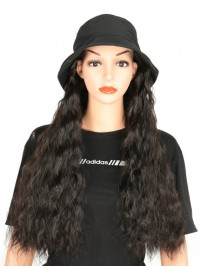 Black Long Curly Synthetic Wigs 28 Inches With Black Fishman Hat