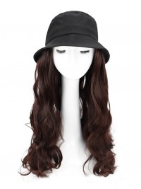 Long Wavy Synthetic Wigs 22 Inches With Black Fishman Hat