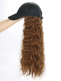 Long Wavy Synthetic Wigs 28 Inches With Women Baseball Hat