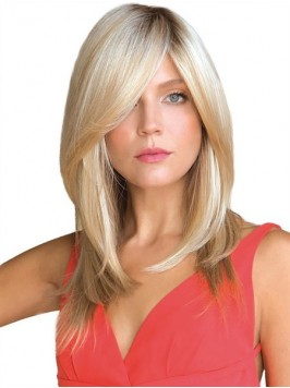 Middle Straight Blonde Remy Human Hair Mono Hair P...