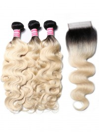 1B/613 Body Wave Ombre Hair 3 Bundles With 4x4 Lace Closure Nadula Best Virgin Human Hair