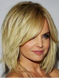 Chin Length Straight Capless Blonde Remy Human Hair Wigs With Side Bangs