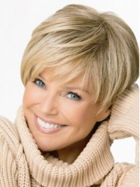 Blonde Boy Cut Capless Straight Short Remy Human Hair Wigs 6 Inches