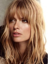 Wavy Two-Tones Blonde With Full Bangs Human Hair Wigs