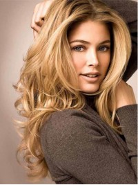 Blonde Central Parting Long Wavy Lace Front Remy Human Hair Wigs