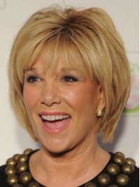 Blonde Chin Length Straight Capless Human Hair Wigs With Bangs