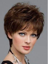 Boy Cut Wavy Capless Human Hair Wigs 6 Inches With Bangs