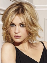 Blonde Chin Length Wavy Lace Front Remy Human Hair Wigs 10 Inches