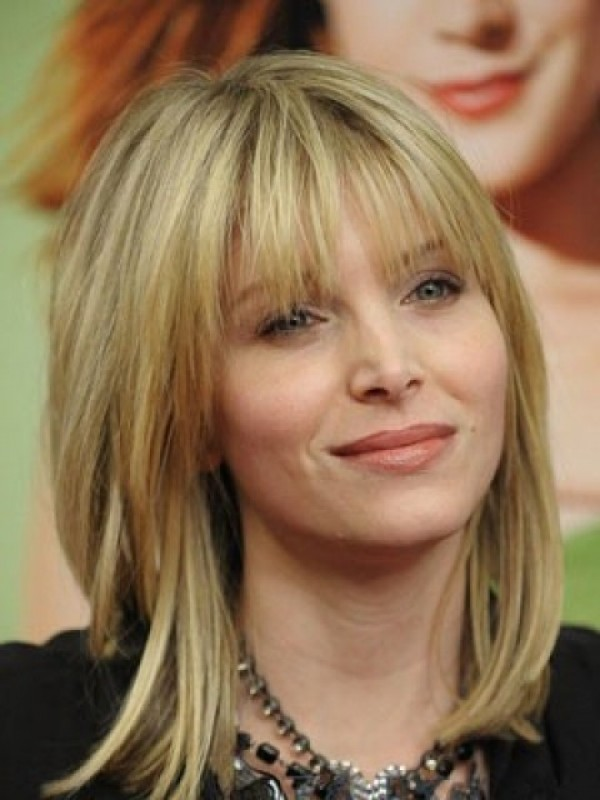 Blonde Medium Human Hair Lace Front Wigs 14 Inches With Bangs