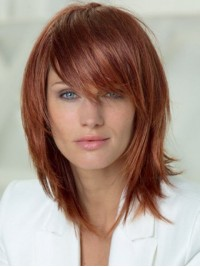 Layered Shag Hairstyle With Full Fringe Medium human Capless Women Wigs