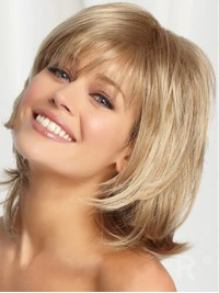 Blonde Medium Smooth Full Lace Remy Human Hair Wigs