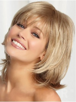 Blonde Medium Smooth Full Lace Remy Human Hair Wig...