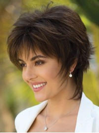 Short Layered Straight Human Hair Lace Front Wigs 10 Inches