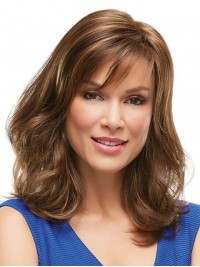 Brown Capless Long Straight Remy Human Hair Wigs With Bang 16 Inches