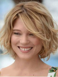 Fluffy Short Bob Hairstyle Human Hair Wavy Lace Front Wigs 10 Inches