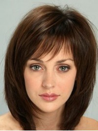 Chin Length Straight Capless Human Hair Wigs With Bangs 12 Inches