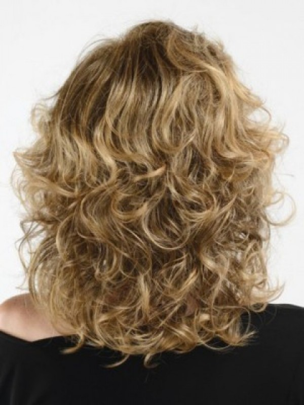 Blonde Should Length Wavy Capless Human Hair Wigs 16 Inches