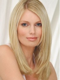 Blonde Straight Lace Front Human Hair Wigs With Side Bangs 16 Inches