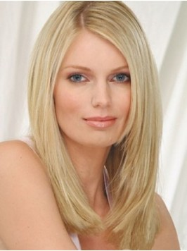 Blonde Straight Lace Front Human Hair Wigs With Si...