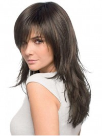 Long Straight Lace Front Remy Human Hair Wigs With Bangs 18 Inches
