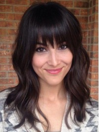 Long Wavy Capless Human Hair Wigs With Bangs 18 Inches