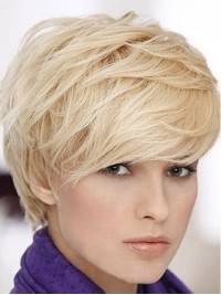 Short Straight Blonde Human Hair Capless Wigs With Bangs