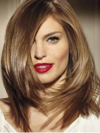Straight Blonde Capless Remy Human Hair Wig With Side Bangs