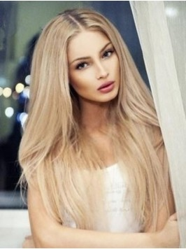 Centre Parting Long Blonde Lace Front Human Hair S...