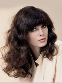 Brown Long Wavy Capless Human Hair Wigs With Bangs 20 Inches