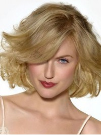 Should Length Blonde Capless Wavy Human Hair Wigs With Bangs