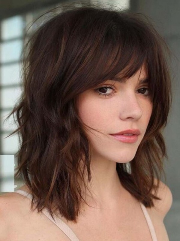 Brown Medium Wavy Remy Human Capless Hair Wigs With Bangs 12 Inches