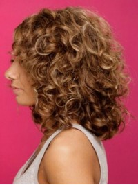 Brown Big Volumn Capless Curly Human Hair Wigs 16 Inches