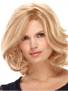 Layered Blonde Medium Wavy Lace Front Remy Human H...