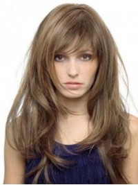 Light Brown Long Straight Capless Human Hair Wigs With Bangs 22 Inches