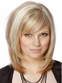 Blonde Straight Capless Remy Human Hair Wigs With Bangs 12 Inches