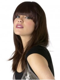 Full Bangs Long Straight Capless Human Hair Wigs 18 Inches