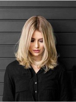Central Parting Blonde Wavy Lace Front Remy Human ...