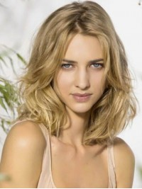 Layered Blonde Wavy Remy Human Hair Lace Front Wigs 16 Inches