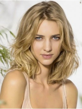 Layered Blonde Wavy Remy Human Hair Lace Front Wig...