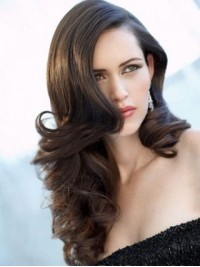 Brown Full Lace Wavy Long Human Hair Wigs 22 Inches