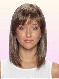 Medium Straight Human Hair Lace Front Wigs With Bangs 14 Inches