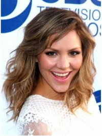 Katharine Mcphee Two-Tones Long Capless Remy Human Hair Wigs 16 Inches